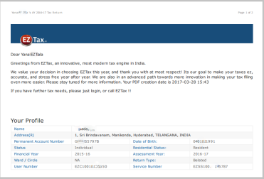 EZTax India Comprehensive Tax Filing Report
