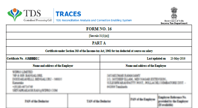 Sample Form-16 from EZTax India
