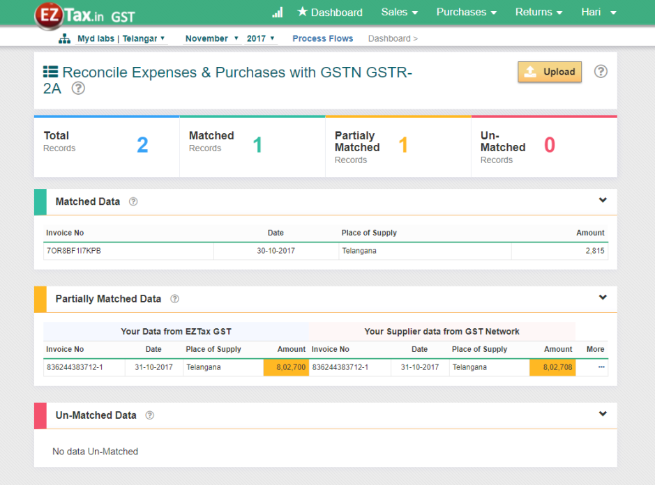 Reconcile GSTR-2A with EZTax.in GST