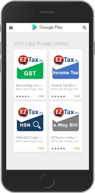 GST Accounting, Income Tax, e-way bill, HSN / SAC Code Smart Search Apps from EZTax.in from Google Play Store