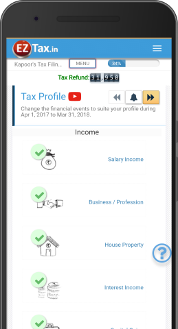 Tax Profile Selection - Self Service Income Tax (ITR) Filing App