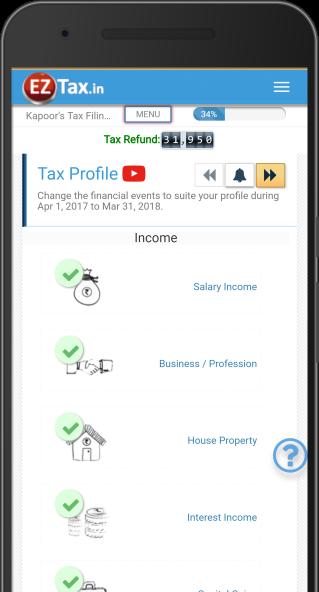 Tax Profile Selection - Self Service Income Tax (ITR) Filing App