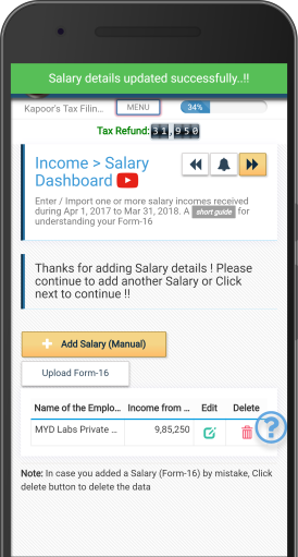 Upload Form16 - Self Service Income Tax (ITR) Filing App