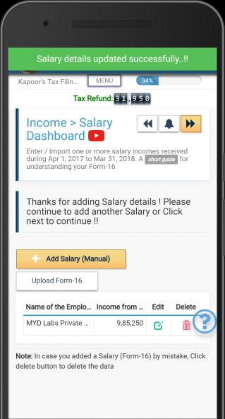 Upload Form16 - Self Service Income Tax (ITR) Filing App