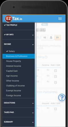 Comprehensive Options – Self Service Income Tax (ITR) Filing App