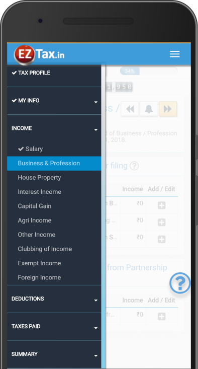 Comprehensive Options – Self Service Income Tax (ITR) Filing App