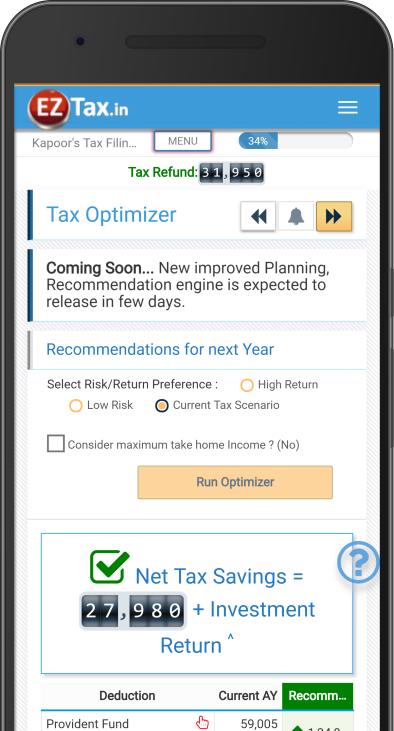 Tax Optimizer for Save on Taxes - Self Service Income Tax (ITR) Filing App