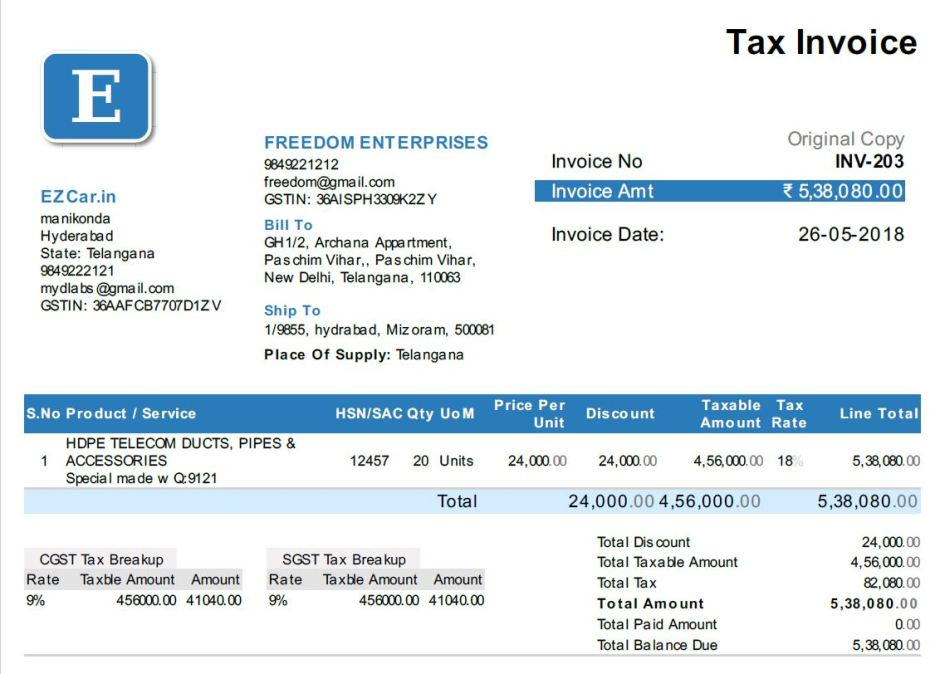 Tax Invoice from EZTax.in