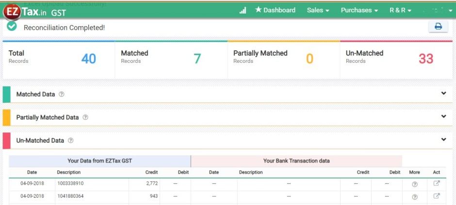 Bank Statement Reconciliation Screen using GST Accounting from EZTax.in